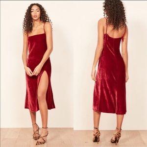 Reformation Ariana Velvet Midi Slit Slip Dress